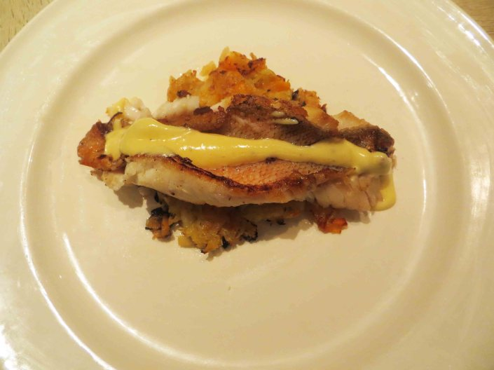 Smoked Mullet with Vegetable Rosti and Hollandaise Sauce